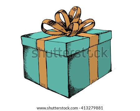 Gift box with ribbon. Gift icon. Hand drawn gift box. Green gift box. Hand drawn vector stock illustration - stock vector