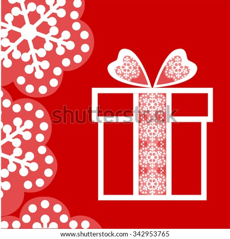 Gift  box with  ribbon lace and red background, snowflakes. Vector illustration