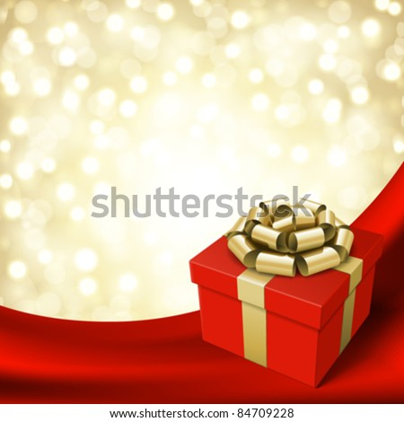 Gift box with ribbon on curtain and light. Vector background eps 10. - stock vector