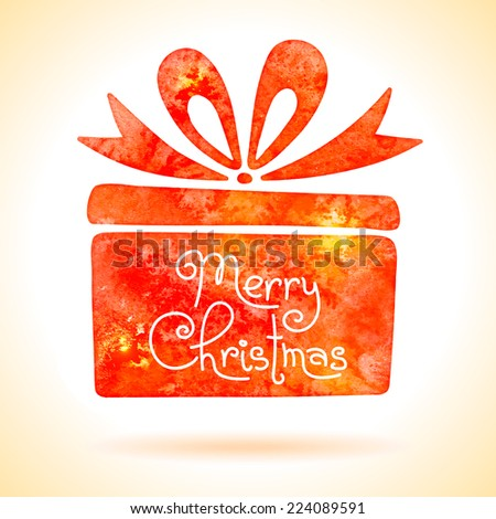 Gift box with ribbon painted in watercolor. Design element. Vector illustration. - stock vector