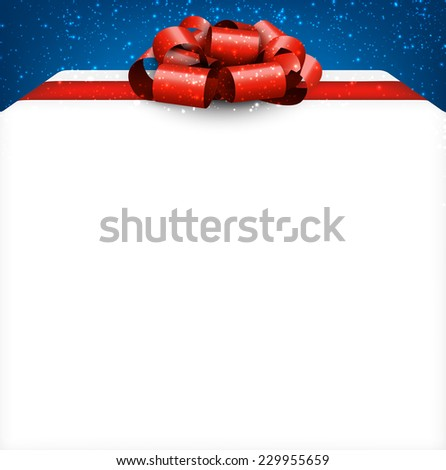 Gift box with satin red bow over blue background. Realistic vector illustration.  - stock vector