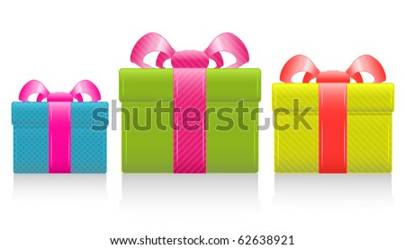 Gift box with silk pink bow. Vector Illustration. EPS8 - stock vector