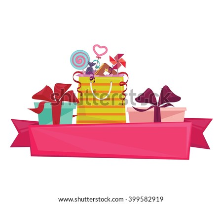 Gift boxes and goodie bag with pink ribbon text space. Isolated vector illustration - stock vector