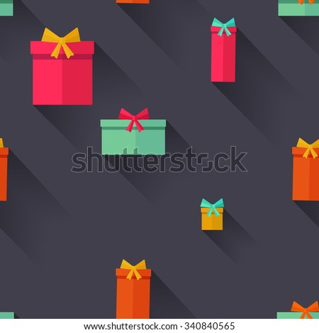 Gift Boxes Birthday Seamless Background. Flat design. - stock vector