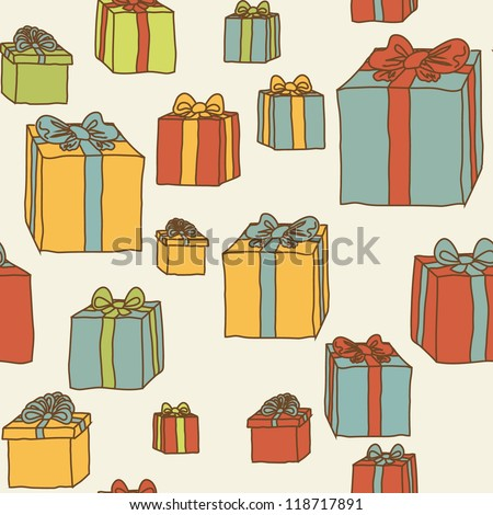 Gift boxes cartoon doodles hand drawn vector seamless pattern on beige - stock vector