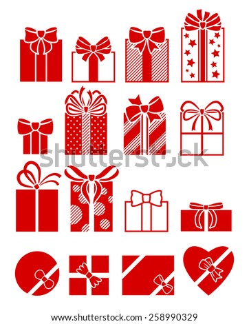 Gift boxes flat icons set. Different presents with bow and ribbon wrapped paper. Greeting cards design elements. - stock vector