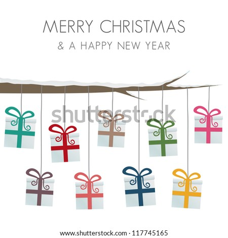 gift boxes hang on twine tree branch - stock vector
