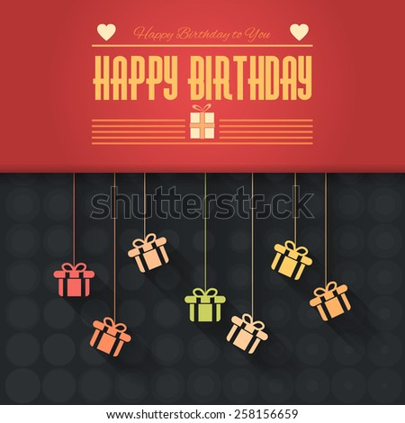 Gift Boxes Hanging Flat Happy Birthday Vector Design. Announcement and Celebration Message Poster. Black and Red Background - stock vector