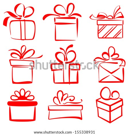 gift boxes icon set sketch vector illustration - stock vector