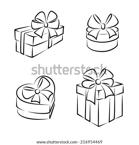 Gift boxes icons or symbols, black and white, isolated  - stock vector