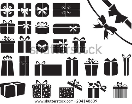 Gift boxes illustrated on white  - stock vector