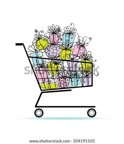 Gift boxes in shopping cart for your design - stock vector