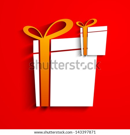 GIft boxes on red background. - stock vector