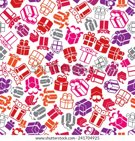 Gift boxes seamless background, vector icon set, elements easy to use separately as icons. - stock vector