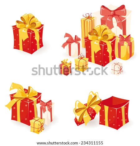 Gift boxes set. Holiday presents collection. Vector illustration
