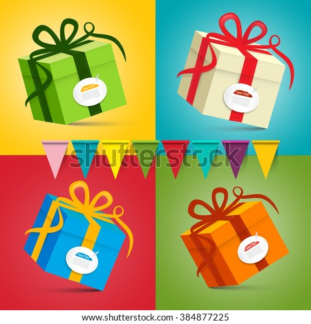 Gift Boxes - Vector Present Box Set on Colorful Retro Background with Flags - stock vector