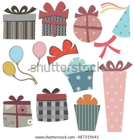 gift boxes with balloons