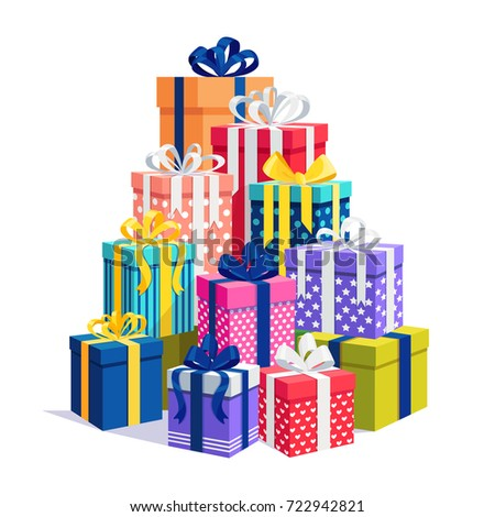 Gift boxes ribbon set isolated on stock vector 722942821 gift boxes with ribbon set isolated on white background big pile of presents surprises negle Gallery