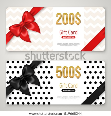 gift card layout template with red and black bow ribbon in corners shopping certificate