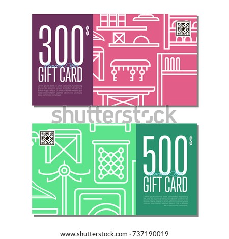 Gift Card Linear Set For Corridor Furniture Hallway Interior Design Certificate Stylish Apartment Decoration
