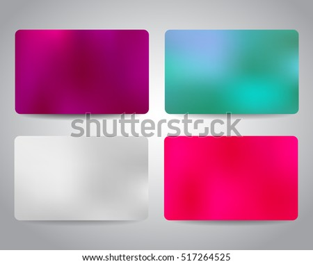 Gift card or discount card set with colorful shiny backgrounds template. Purple, blue, pink, white color. Vector design EPS10