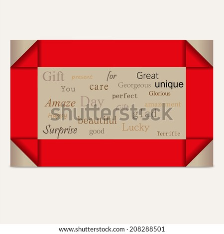 gift card red stripes vector - stock vector