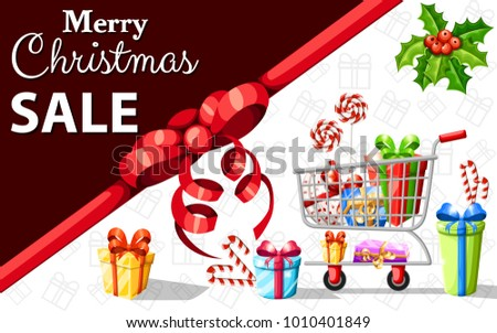 Gift card self-service supermarket full shopping trolley cart with fresh grocery products and red handle flat vector illustration sale web site page and mobile app design.