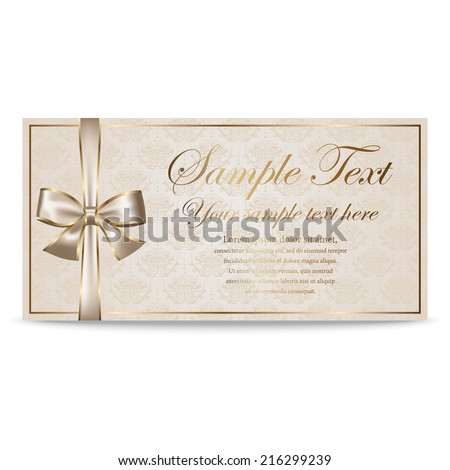 Gift Card, Sertificate, Coupon, Invitation template with silver and golden bow in retro style - stock vector