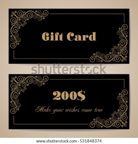 Gift Card Template Calligraphy Design Elements Stock Vector