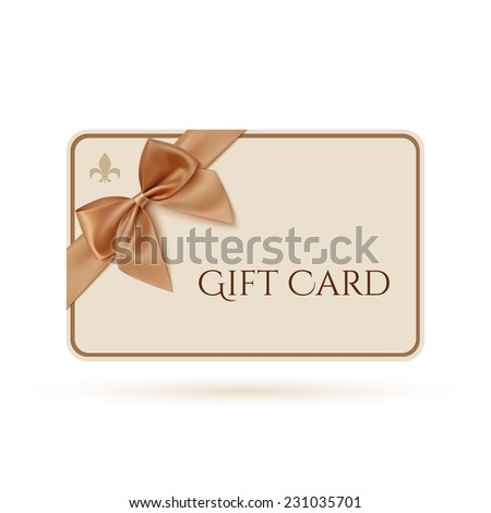 Gift card template with golden ribbon and a bow. Vector illustration - stock vector