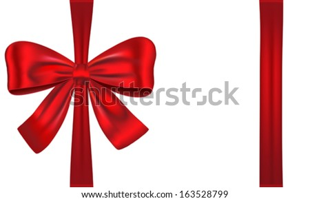 Gift card tied with red ribbon and bow. Vector illustration - stock vector