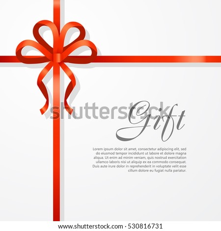 Gift card vector illustration on white background, luxury wide gift bow with red ribbon and space frame for text, gift wrapping template for banner, poster design. Simple cartoon style. Flat design