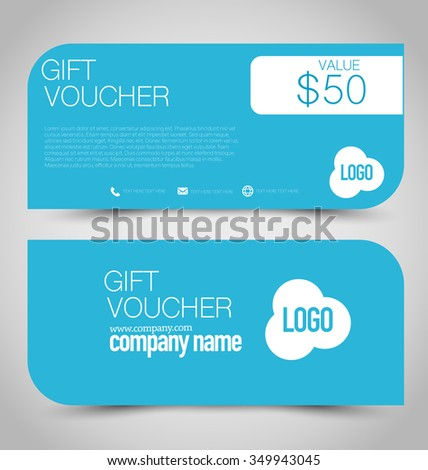 Gift card voucher. Business banner template. Blue color.