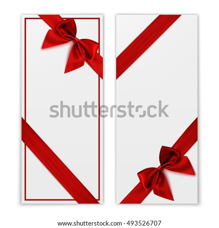 Gift Card. White Gift Voucher Templates With Red Ribbon And A Bow. Vector  Illustration  Present Voucher Template
