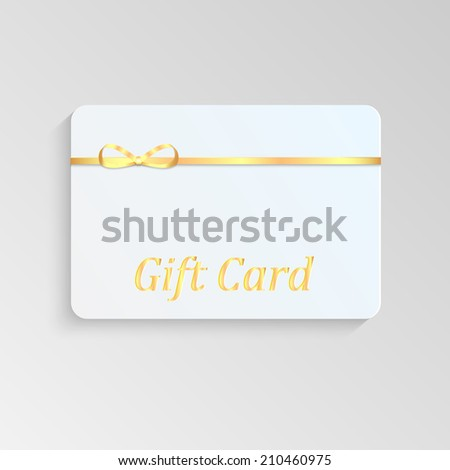 Gift card with a gold bow  - stock vector