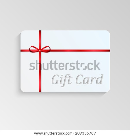 Gift card with a red bow - stock vector
