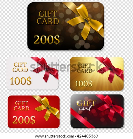 Gift Card With Bows Big Set, Isolated on Transparent Background, With Gradient Mesh, Vector Illustration - stock vector