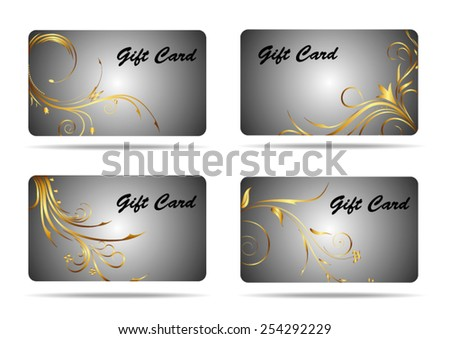 Gift card with floral ornament - stock vector