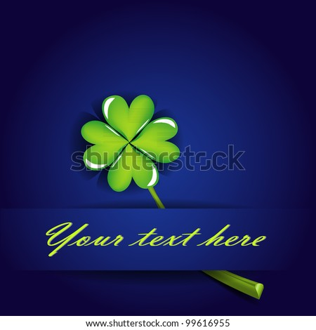 gift card with four leaf clover on blue background - stock vector