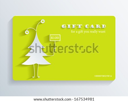 Gift Card with funny fir-tree - stock vector