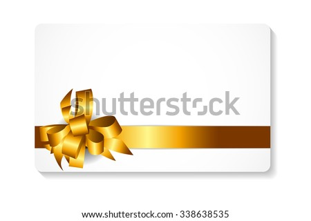 Gift Card with Gold Bow and Ribbon Vector Illustration EPS10 - stock vector