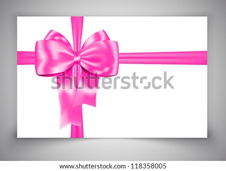 Gift card with luxurious pink bow on gray background. Ribbon. Vector illustration