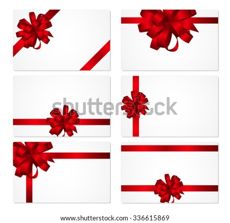 Gift Card with Red Bow and Ribbon Set Vector Illustration EPS10 - stock vector