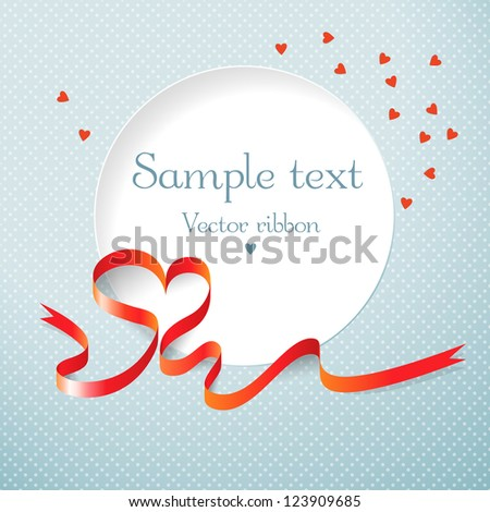 Gift card with red heart ribbon. Vector illustration. - stock vector