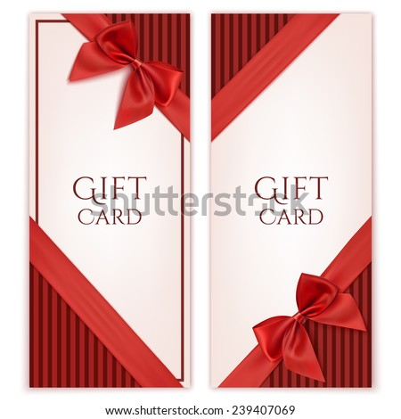Gift card with red ribbon and a bow. Gift voucher template. Vector illustration - stock vector