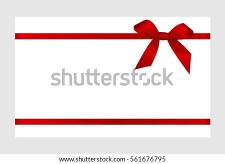 Gift card red ribbon bow on stock vector 561676795 shutterstock gift card with red ribbon and a bow on white background gift voucher template pronofoot35fo Choice Image
