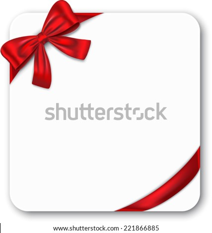 Gift card with red ribbon and bow. Vector illustration - stock vector