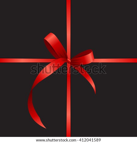 Gift Card with Red Ribbon and Bow. Vector illustration EPS10 - stock vector