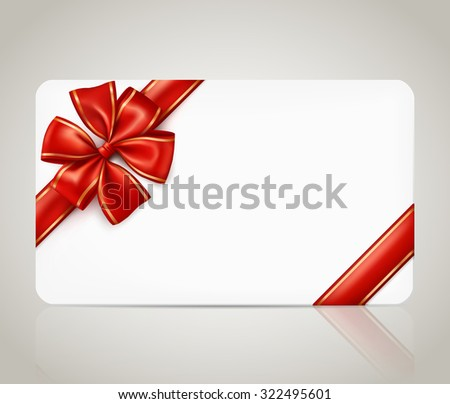 Gift card with red ribbon bow - stock vector