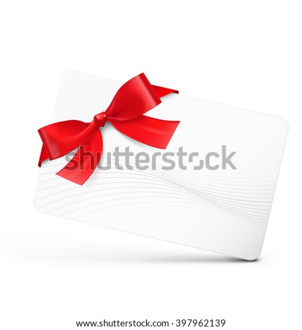 Gift card with red ribbon on white background. Vector illustration - stock vector